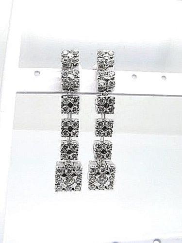 Long Drop Diamonds 3 04ct  F-G ,Vvs2-Vs1 Earring White Gold 18k  Size 47mm   Long