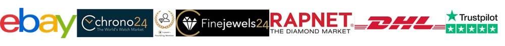 Ebay Chrono24 FineJewellery Rapnet DHL Trustpilot